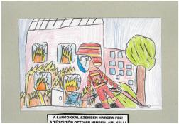 Balogh Milán (9 éves, Nyíregyháza TINI'ART Képzős Műhely és a FREE DANCE Művészeti Iskola): A lángokkal szemben harcra fel! A tűzoltón ott van minden, ami kell! Felkészítő: Nagy Zoltán