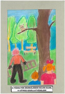 Hugert Dorka (10 éves, Nyíregyháza TINI'ART Képzős Műhely és a FREE DANCE Művészeti Iskola): A tűzoltók munkájában bájos elem, a létrás kisállatvédelem! Felkészítő: Nagy Zoltán
