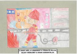 Tokaji Márkó (10 éves, Nyíregyháza TINI'ART Képzős Műhely és a FREE DANCE Művészeti Iskola): A nagy hőt, a lángokat a tűzoltó állja, saját védelmét a sisak garantálja. Felkészítő: Nagy Zoltán
